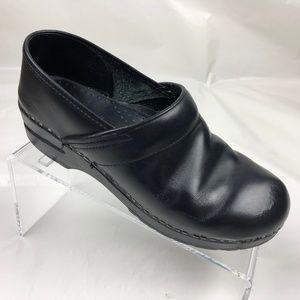 Women's Dansko Black Leather Clog Shoes